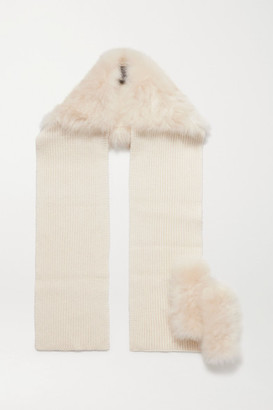Yves Salomon Shearling-trimmed Ribbed Wool And Cashmere-blend Gloves And Scarf Set - White