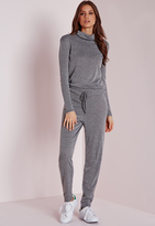 Missguided Long Sleeve Ribbed Drawstring Romper Grey