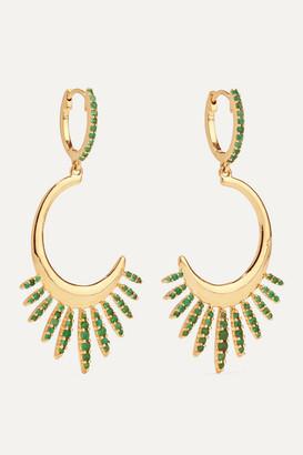 Ileana Makri Grass Sunrise Leaves 18-karat Gold Emerald Earrings - one size