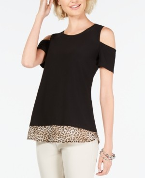 INC International Concepts Inc Petite Cold-Shoulder Layered-Look Top, Created for Macy's