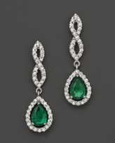 Bloomingdale's Emerald and Diamond Open Weave Pear Shaped Drop Earrings in 14K White Gold - 100% Exclusive