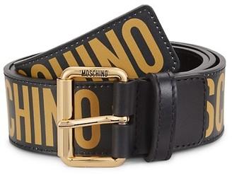 Moschino Graphic Logo Leather Belt