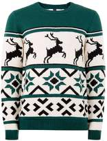 Topman Green Christmas Fair Isle Jumper