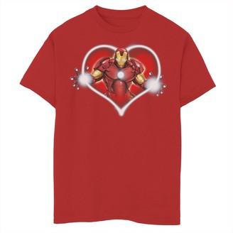 Marvel Boys 8-20 Iron Man Heart Blaster Glow Valentine Tee