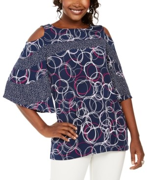 JM Collection Mixed-Print Cold-Shoulder Tunic, Created for Macy's