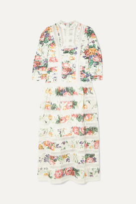 Zimmermann Allia Pintucked Lace-paneled Floral-print Linen Dress - White