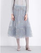Valentino Sequin-embellished tulle midi skirt