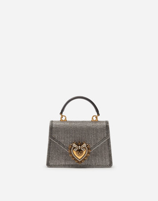 Dolce & Gabbana Small Devotion Bag In Rhinestone Chain