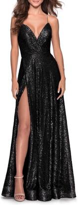 La Femme A-Line Sequin Gown