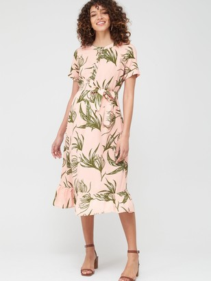 Mama Licious Maternity/Nursing Darling Floral Button Down Midi Dress - Pink Green