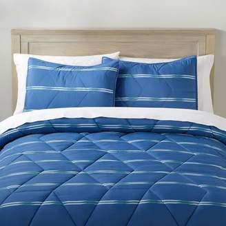 Pottery Barn Teen Terrain Stripe Microfiber Comforter, Full/Queen, Deep Cobalt