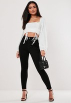 Missguided Tall Outlaw Black High Waisted Denim Jeggings