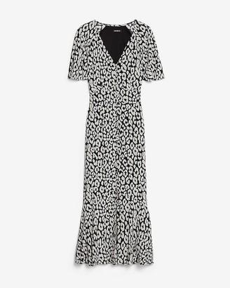 Express Leopard Print Button Front Midi Dress