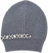 No.21 crystal embellished ribbed beanie