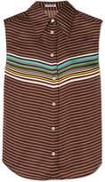 Miu Miu Striped Satin Shirt - Brown