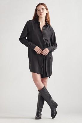 Thakoon Silk Wrap Tie Shirt Dress Black