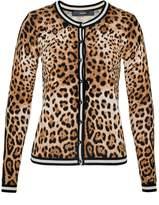 Hallhuber Leopard print cardigan with stripe cuffs