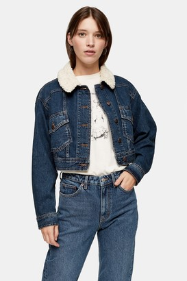 Topshop Womens Considered Mid Wash Crop Denim Jacket With Borg Collar With Recycled Cotton - Mid Stone