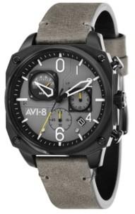 AVI-8 Men's Hawker Hunter Chronograph Retrograde Edition Gray Genuine Leather Strap Watch 45mm
