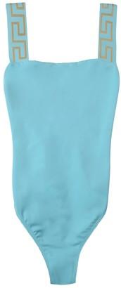 Versace Greca Trim Swimsuit Light Blue