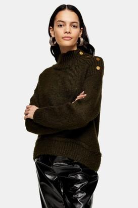 Topshop Khaki Knitted Button Shoulder Jumper