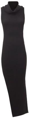 Rick Owens Cowl-neck Side-slit Wool-jersey Dress - Black