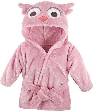 Hudson Baby Girls' Bath Robes Pink - Pink Owl Hooded Fleece Robe - Newborn