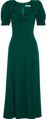 Reformation Lacey Ruched Crepe Midi Dress