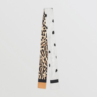 Burberry Animal Print Silk Skinny Scarf