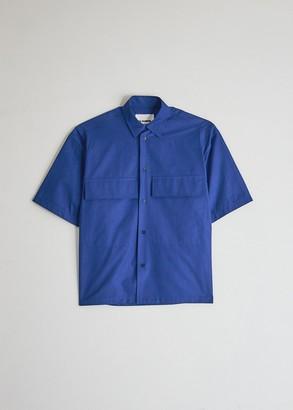 Jil Sander Men's Ariel Short Sleeve Shirt in Klein Blue, Size 37 | 100% Cotton