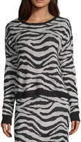 Society And Stitch Womens Crew Neck Long Sleeve Animal Sweater-Juniors