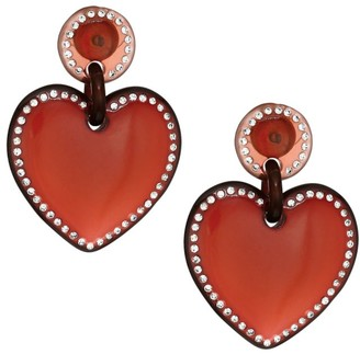 Lele Sadoughi Jeweled-Stitched Red Heart Drop Earrings