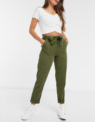 Miss Selfridge slim trouser with belt in khaki