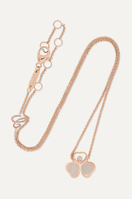 Chopard Happy Hearts Wings 18-karat Rose Gold, Mother-of-pearl And Diamond Necklace