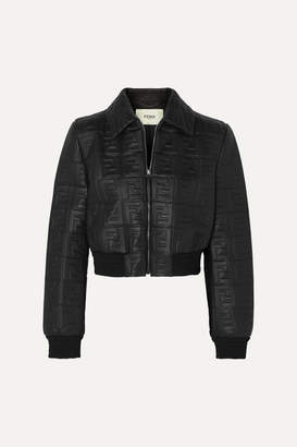 Fendi Cropped Embossed Leather Jacket - Black