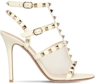 Valentino 105MM ROCKSTUD LEATHER & MESH SANDALS