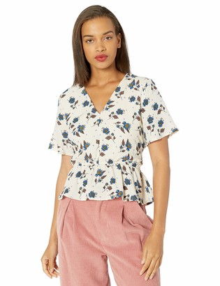 J.o.a. Women's Short Sleeve Tie Front Floral Top
