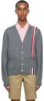 Thom Browne Grey Wool Intarsia Stripe Cardigan
