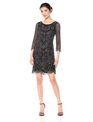 Pisarro Nights Women's Short Dress with Cap Sleeve and pear Train tack Motif
