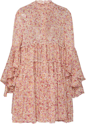 By Ti Mo Floral-Print Chiffon Baby Doll Dress
