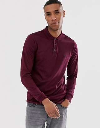 French Connection long sleeve jersey polo-Red