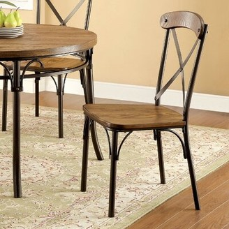 Hokku Designs Maya Cross Back Side Chair in Black/Brown
