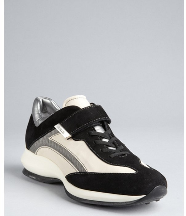 Tod's black and white leather-suede strapped wedge sneakers