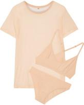 Base Range Baserange - Bamboo-jersey T-shirt, Soft-cup Bra And Briefs Set - Neutral