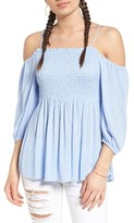 BP Women's Smocked Cold Shoulder Top
