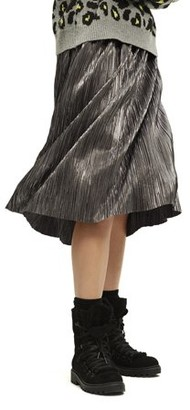 Scoop Pleated Metallic Skirt Women's
