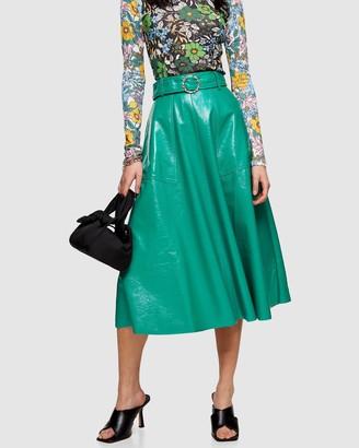 Topshop Petite PETITE Full Circle Vinyl Skirt