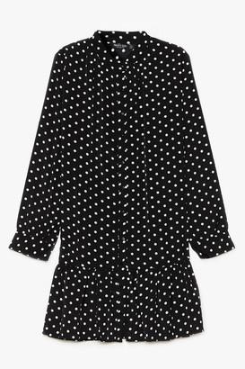 Nasty Gal Womens Polka Dot Summer Nights Plus Mini Dress - Black