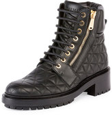 Balmain Army Quilted Leather Combat Boot, Noir