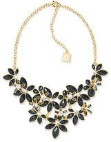 Anne Klein Flower Bib Jet Epoxy Stone Necklace
